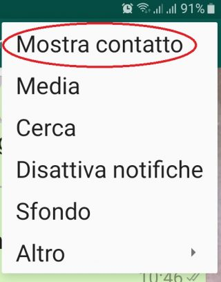 Menù tendina whatsapp